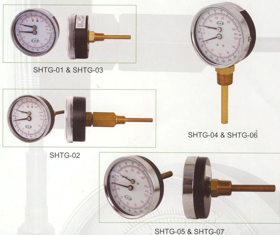 Hot Water Back Pressure , Temperature Tridicator Gauge With Acrylic Lens SHTG