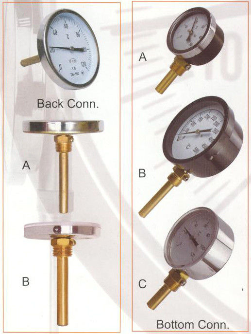 HVAC Accuracy ±2% Economy Bimetal Thermometer With Brass Socket